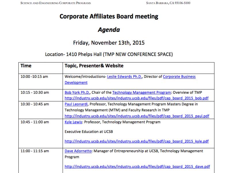 Board Meeting Agendas